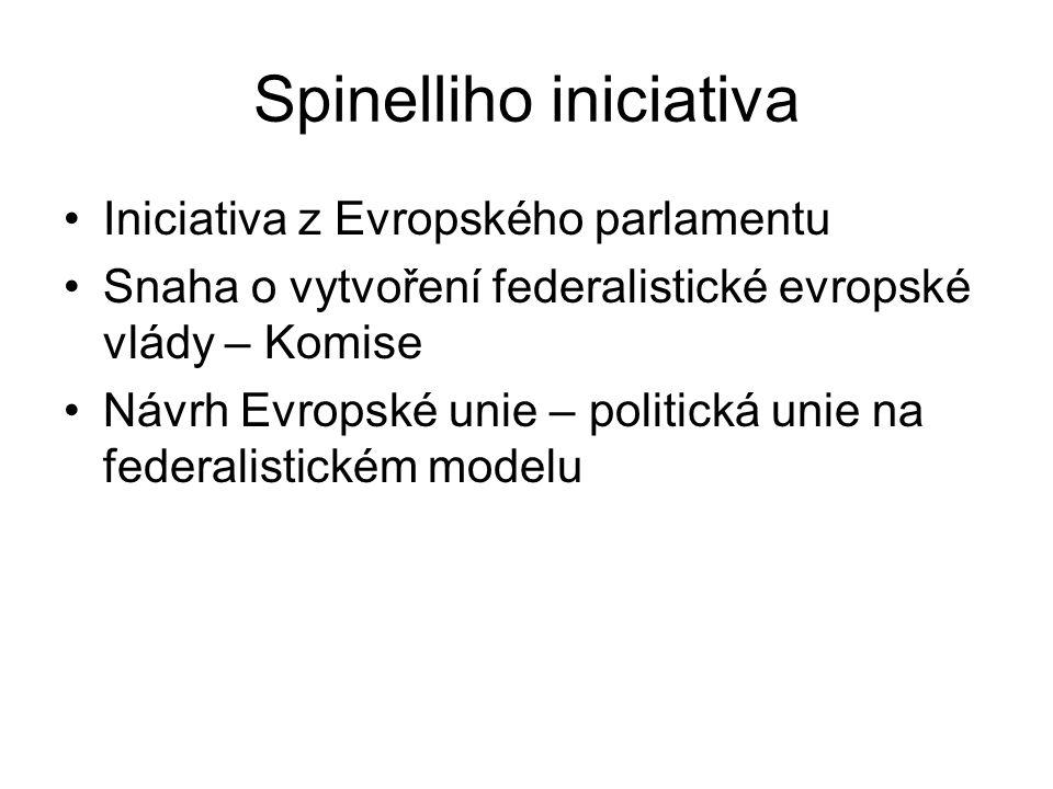 Spinelliho iniciativa Iniciativa z Evropského parlamentu Snaha o vytvoření federalistické evropské vlády – Komise Návrh Evropské unie – politická unie