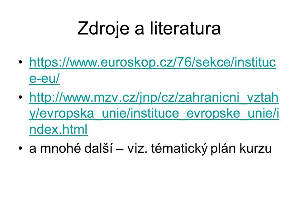 Zdroje a literatura https://www.euroskop.cz/76/sekce/instituc e-eu/https://www.euroskop.cz/76/sekce/instituc e-eu/ http://www.mzv.cz/jnp/cz/zahranicni