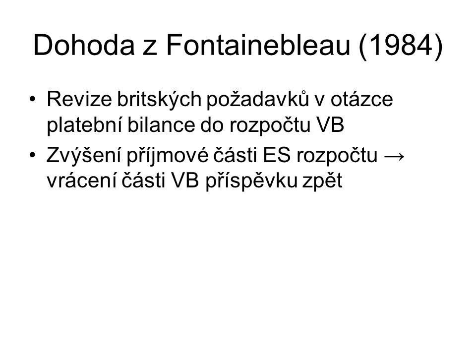 Dohoda z Fontainebleau (1984) Revize britských požadavků v otázce platební bilance do rozpočtu VB Zvýšení příjmové části ES rozpočtu → vrácení části V