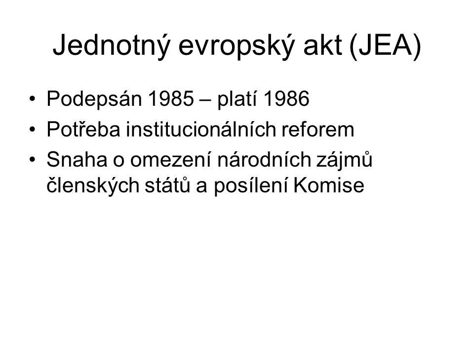 Jednotný evropský akt (JEA) Podepsán 1985 – platí 1986 Potřeba institucionálních reforem Snaha o omezení národních zájmů členských států a posílení Ko