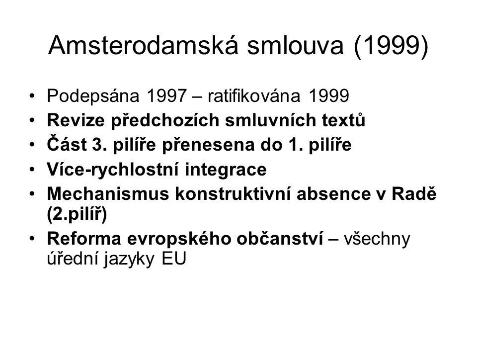 Amsterodamská smlouva (1999) Podepsána 1997 – ratifikována 1999 Revize předchozích smluvních textů Část 3. pilíře přenesena do 1. pilíře Více-rychlost