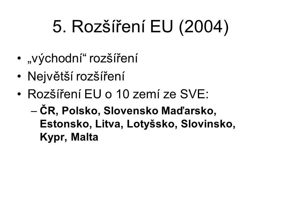 """5. Rozšíření EU (2004) """"východní"""" rozšíření Největší rozšíření Rozšíření EU o 10 zemí ze SVE: –ČR, Polsko, Slovensko Maďarsko, Estonsko, Litva, Lotyšs"""