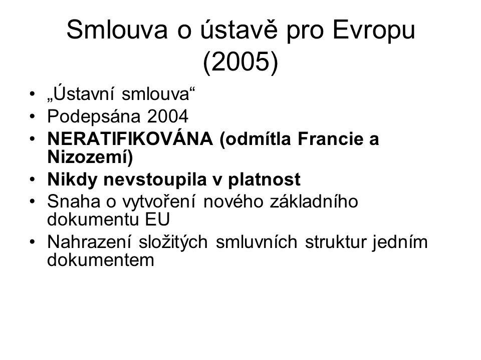 """Smlouva o ústavě pro Evropu (2005) """"Ústavní smlouva"""" Podepsána 2004 NERATIFIKOVÁNA (odmítla Francie a Nizozemí) Nikdy nevstoupila v platnost Snaha o v"""