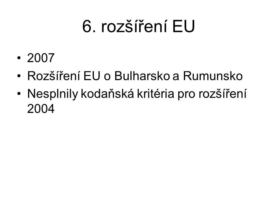 6. rozšíření EU 2007 Rozšíření EU o Bulharsko a Rumunsko Nesplnily kodaňská kritéria pro rozšíření 2004