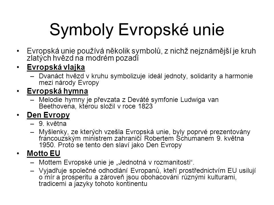 Symboly Evropské unie Evropská unie používá několik symbolů, z nichž nejznámější je kruh zlatých hvězd na modrém pozadí Evropská vlajka –Dvanáct hvězd