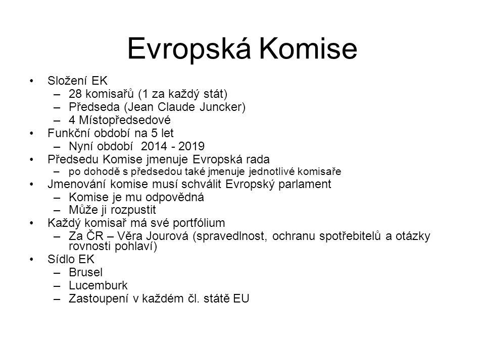 Evropská Komise Složení EK –28 komisařů (1 za každý stát) –Předseda (Jean Claude Juncker) –4 Místopředsedové Funkční období na 5 let –Nyní období 2014