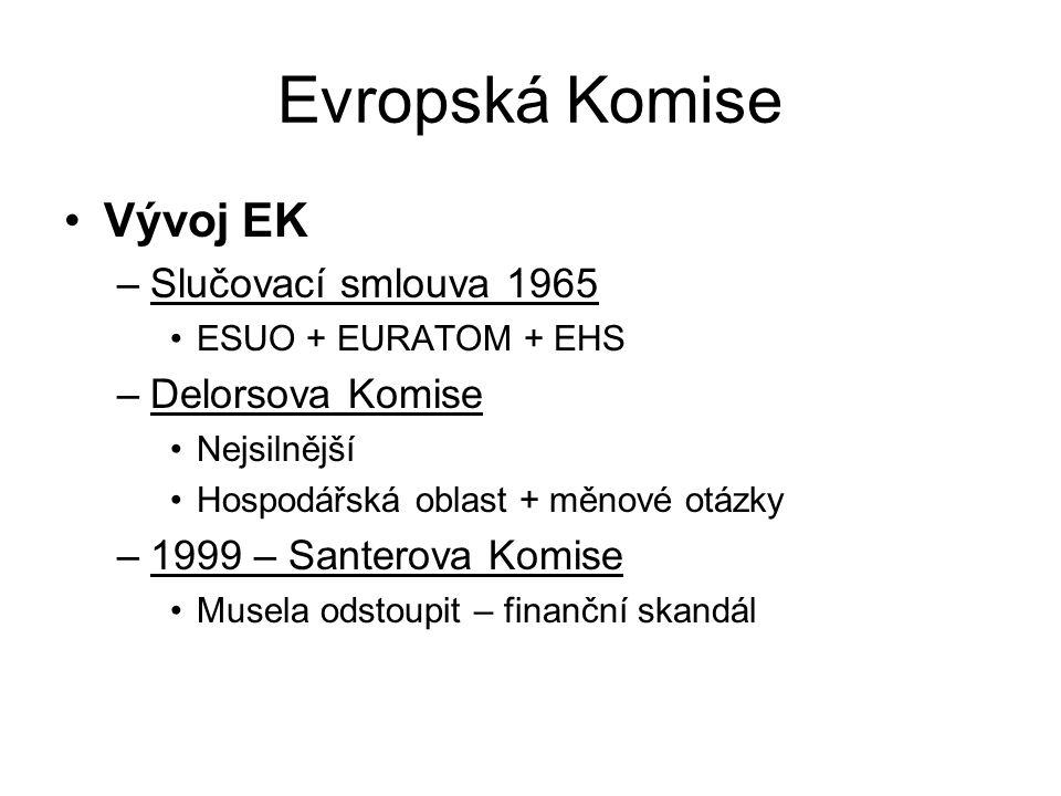 Evropská Komise Vývoj EK –Slučovací smlouva 1965 ESUO + EURATOM + EHS –Delorsova Komise Nejsilnější Hospodářská oblast + měnové otázky –1999 – Santero