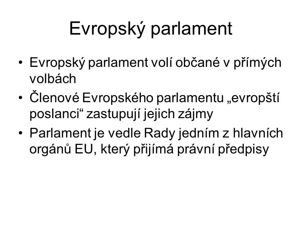 """Evropský parlament Evropský parlament volí občané v přímých volbách Členové Evropského parlamentu """"evropští poslanci"""" zastupují jejich zájmy Parlament"""