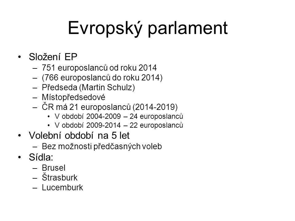 Evropský parlament Složení EP –751 europoslanců od roku 2014 –(766 europoslanců do roku 2014) –Předseda (Martin Schulz) –Místopředsedové –ČR má 21 eur