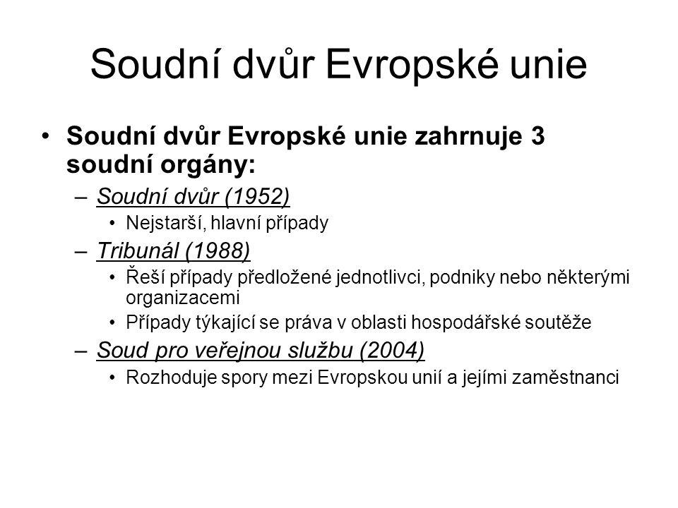 Soudní dvůr Evropské unie Soudní dvůr Evropské unie zahrnuje 3 soudní orgány: –Soudní dvůr (1952) Nejstarší, hlavní případy –Tribunál (1988) Řeší příp