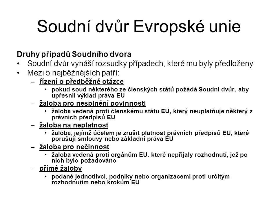 Soudní dvůr Evropské unie Druhy případů Soudního dvora Soudní dvůr vynáší rozsudky případech, které mu byly předloženy Mezi 5 nejběžnějších patří: –ří