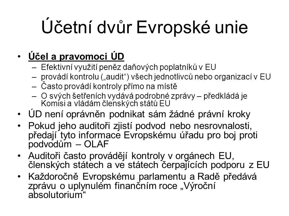 """Účetní dvůr Evropské unie Účel a pravomoci ÚD –Efektivní využití peněz daňových poplatníků v EU –provádí kontrolu (""""audit"""") všech jednotlivců nebo org"""