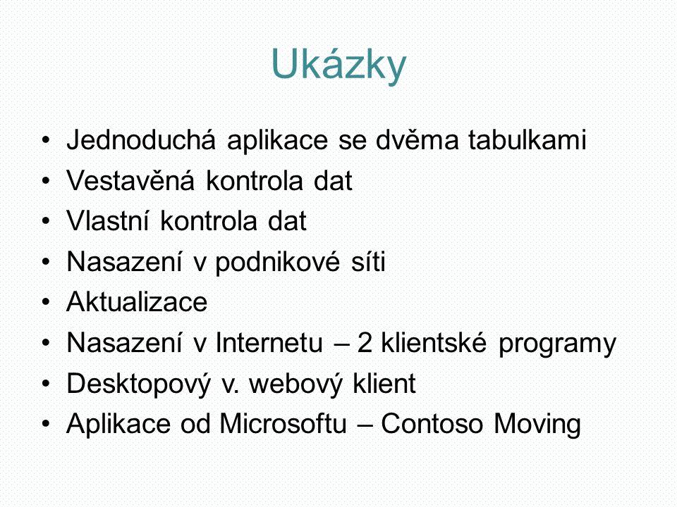 Ukázky Jednoduchá aplikace se dvěma tabulkami Vestavěná kontrola dat Vlastní kontrola dat Nasazení v podnikové síti Aktualizace Nasazení v Internetu – 2 klientské programy Desktopový v.