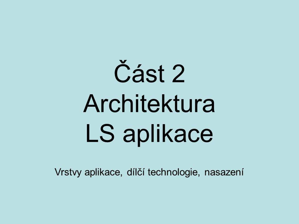Část 2 Architektura LS aplikace Vrstvy aplikace, dílčí technologie, nasazení