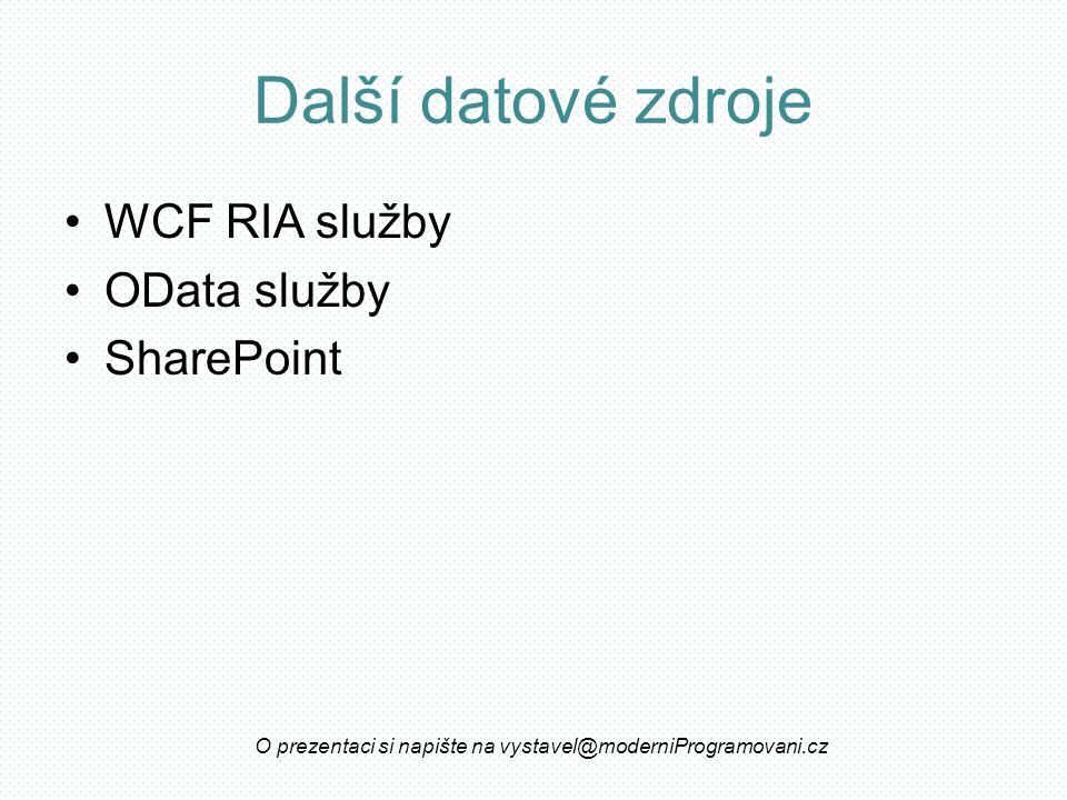 Další datové zdroje WCF RIA služby OData služby SharePoint O prezentaci si napište na vystavel@moderniProgramovani.cz
