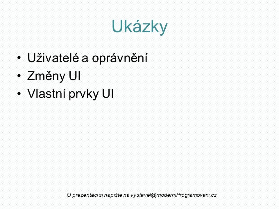 Ukázky Uživatelé a oprávnění Změny UI Vlastní prvky UI O prezentaci si napište na vystavel@moderniProgramovani.cz