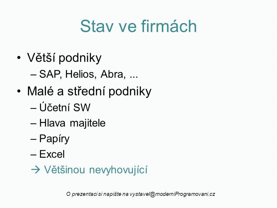 Stav ve firmách Větší podniky –SAP, Helios, Abra,...