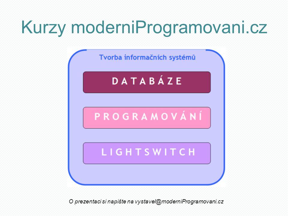 Kurzy moderniProgramovani.cz O prezentaci si napište na vystavel@moderniProgramovani.cz