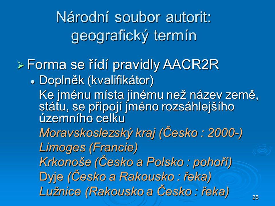 25 Národní soubor autorit: geografický termín  Forma se řídí pravidly AACR2R Doplněk (kvalifikátor) Doplněk (kvalifikátor) Ke jménu místa jinému než název země, státu, se připojí jméno rozsáhlejšího územního celku Moravskoslezský kraj (Česko : 2000-) Limoges (Francie) Krkonoše (Česko a Polsko : pohoří) Dyje (Česko a Rakousko : řeka) Lužnice (Rakousko a Česko : řeka)