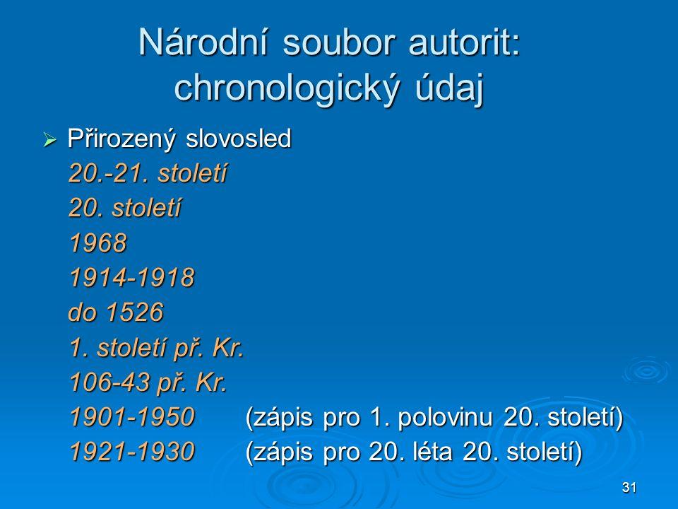 31 Národní soubor autorit: chronologický údaj  Přirozený slovosled 20.-21.