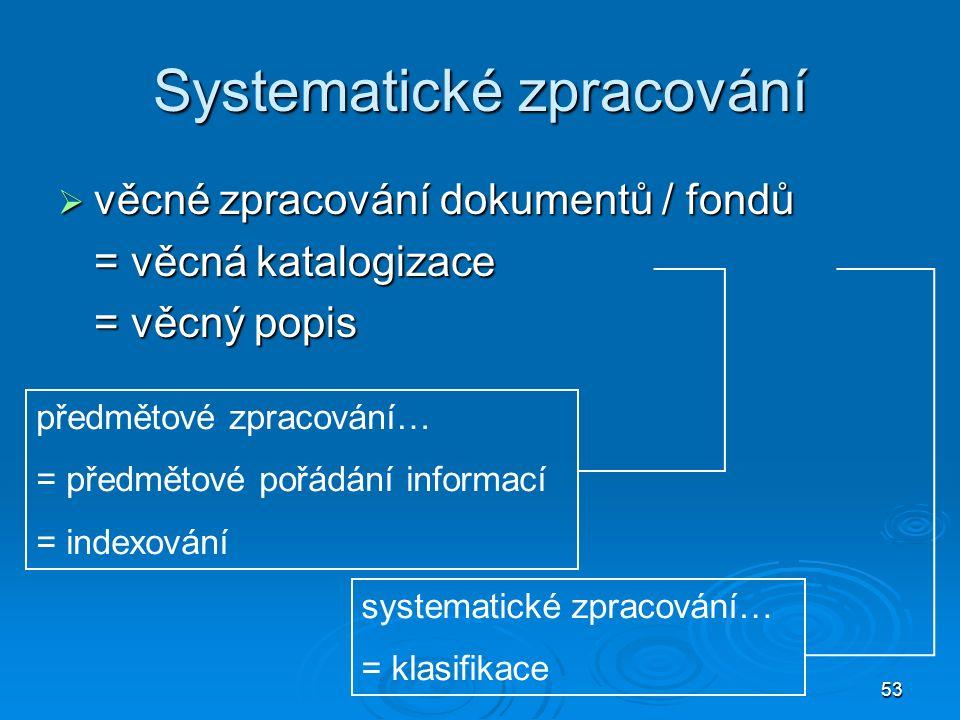 53 Systematické zpracování  věcné zpracování dokumentů / fondů = věcná katalogizace = věcný popis předmětové zpracování… = předmětové pořádání informací = indexování systematické zpracování… = klasifikace