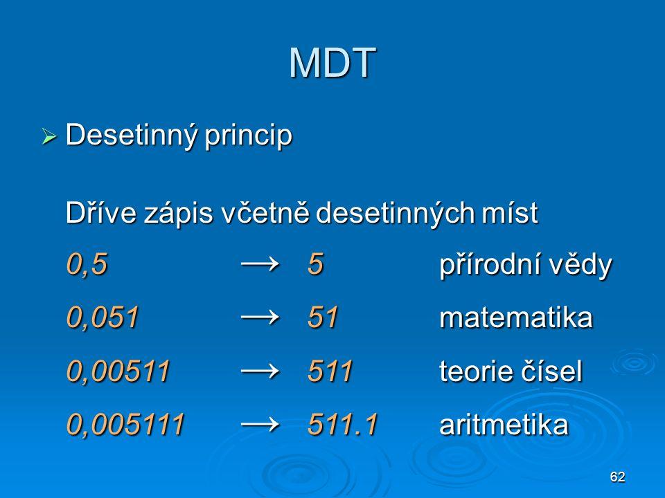 62 MDT  Desetinný princip Dříve zápis včetně desetinných míst 0,5 → 5přírodní vědy 0,051 → 51matematika 0,00511 → 511teorie čísel 0,005111 → 511.1aritmetika