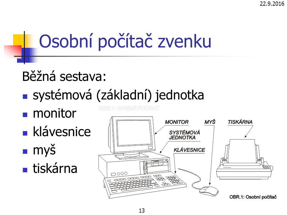 22.9.2016 13 Osobní počítač zvenku Běžná sestava: systémová (základní) jednotka monitor klávesnice myš tiskárna