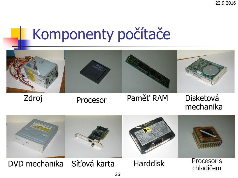 Komponenty počítače 22.9.2016 26 Zdroj Procesor Paměť RAMDisketová mechanika DVD mechanikaSíťová karta Harddisk Procesor s chladičem