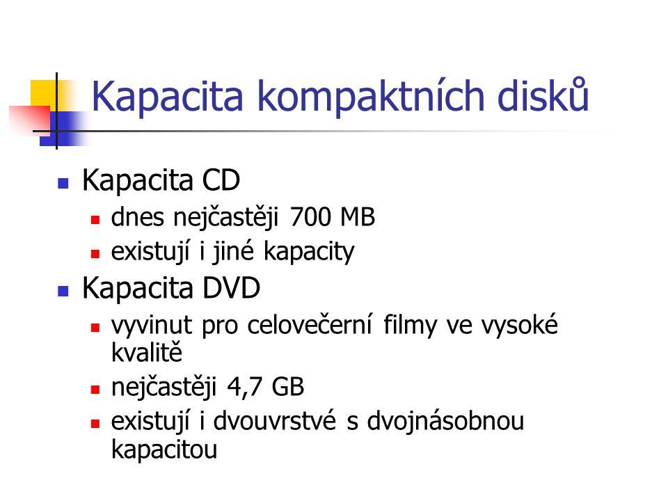 Kapacita kompaktních disků Kapacita CD dnes nejčastěji 700 MB existují i jiné kapacity Kapacita DVD vyvinut pro celovečerní filmy ve vysoké kvalitě nejčastěji 4,7 GB existují i dvouvrstvé s dvojnásobnou kapacitou