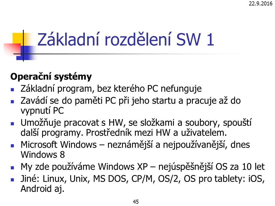 22.9.2016 45 Základní rozdělení SW 1 Operační systémy Základní program, bez kterého PC nefunguje Zavádí se do paměti PC při jeho startu a pracuje až do vypnutí PC Umožňuje pracovat s HW, se složkami a soubory, spouští další programy.
