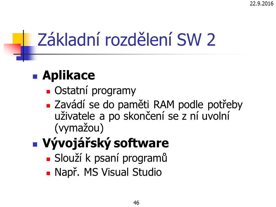 Základní rozdělení SW 2 Aplikace Ostatní programy Zavádí se do paměti RAM podle potřeby uživatele a po skončení se z ní uvolní (vymažou) Vývojářský software Slouží k psaní programů Např.