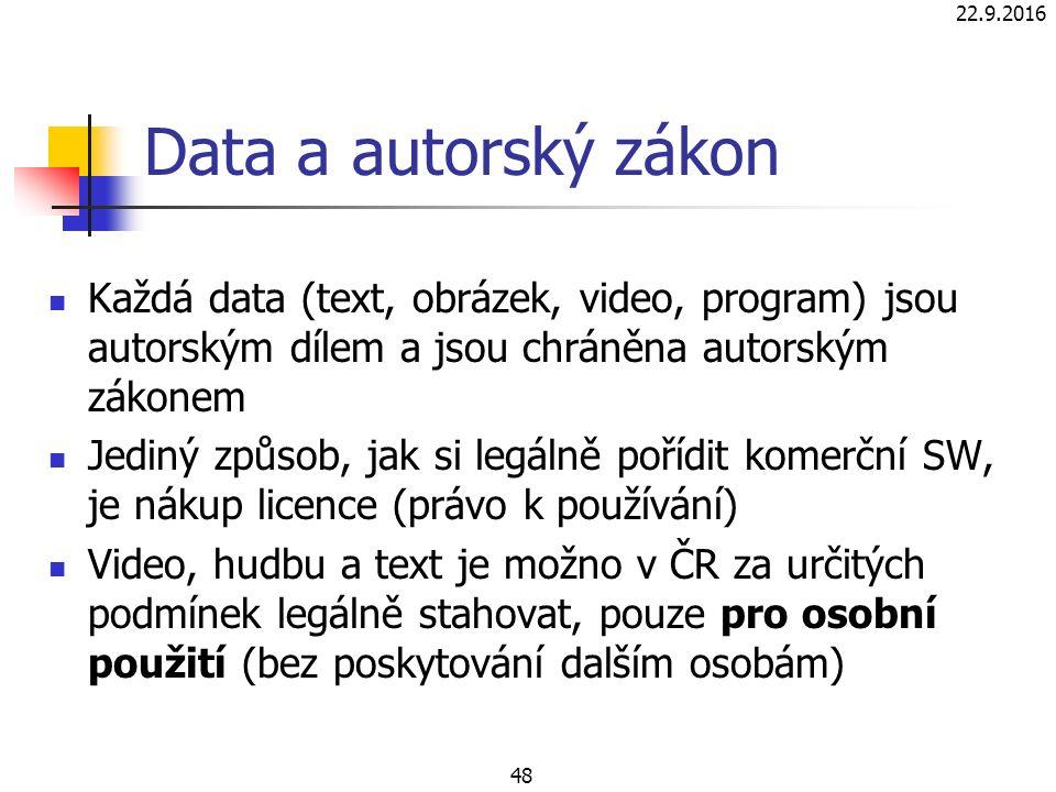 22.9.2016 48 Data a autorský zákon Každá data (text, obrázek, video, program) jsou autorským dílem a jsou chráněna autorským zákonem Jediný způsob, jak si legálně pořídit komerční SW, je nákup licence (právo k používání) Video, hudbu a text je možno v ČR za určitých podmínek legálně stahovat, pouze pro osobní použití (bez poskytování dalším osobám)