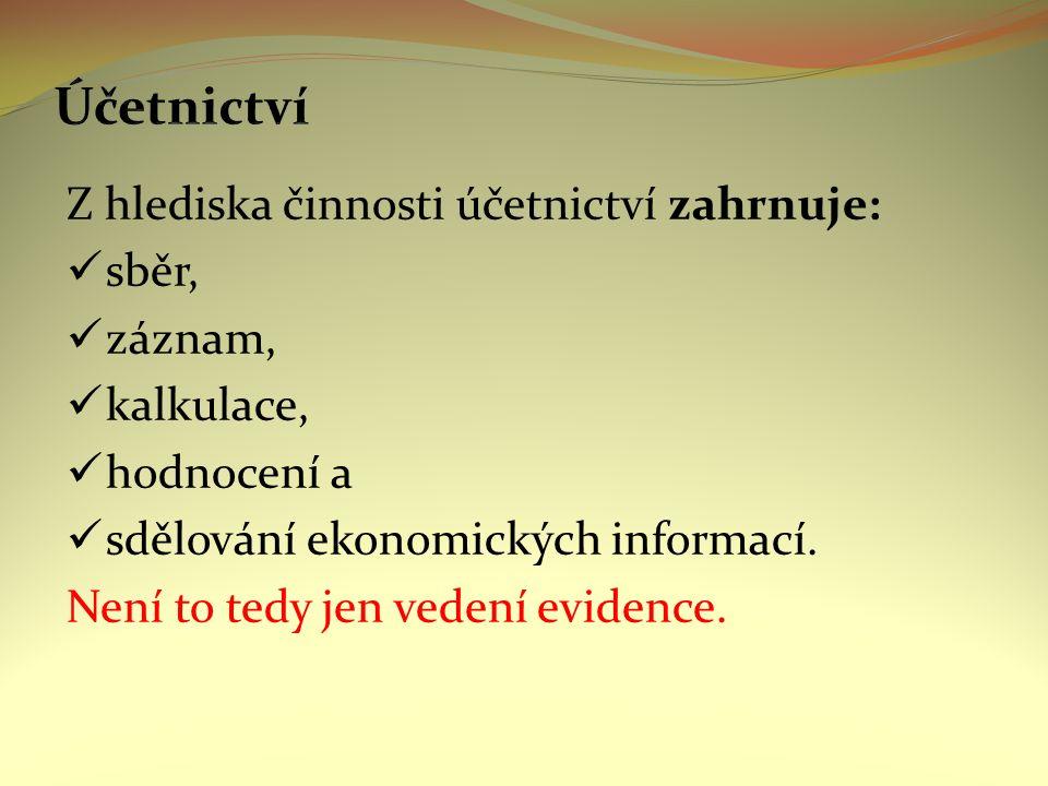 Z hlediska činnosti účetnictví zahrnuje: sběr, záznam, kalkulace, hodnocení a sdělování ekonomických informací.