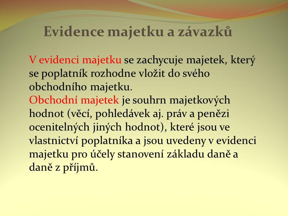 Evidence majetku a závazků V evidenci majetku se zachycuje majetek, který se poplatník rozhodne vložit do svého obchodního majetku.