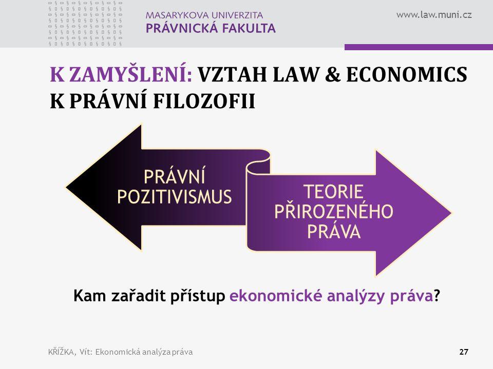 www.law.muni.cz K ZAMYŠLENÍ: VZTAH LAW & ECONOMICS K PRÁVNÍ FILOZOFII PRÁVNÍ POZITIVISMUS TEORIE PŘIROZENÉHO PRÁVA KŘÍŽKA, Vít: Ekonomická analýza práva27 Kam zařadit přístup ekonomické analýzy práva