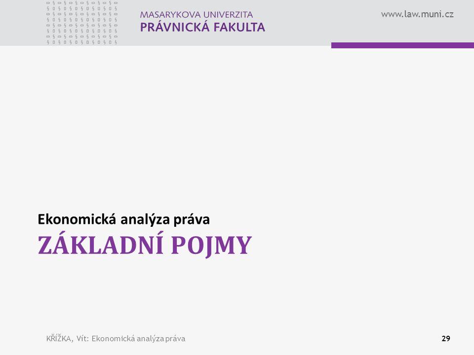 www.law.muni.cz ZÁKLADNÍ POJMY Ekonomická analýza práva KŘÍŽKA, Vít: Ekonomická analýza práva29
