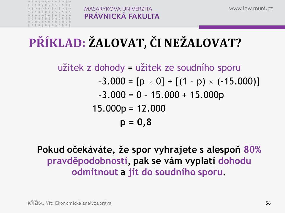 www.law.muni.cz PŘÍKLAD: ŽALOVAT, ČI NEŽALOVAT.