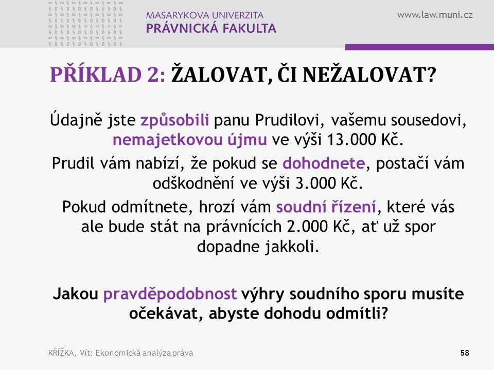 www.law.muni.cz PŘÍKLAD 2: ŽALOVAT, ČI NEŽALOVAT.