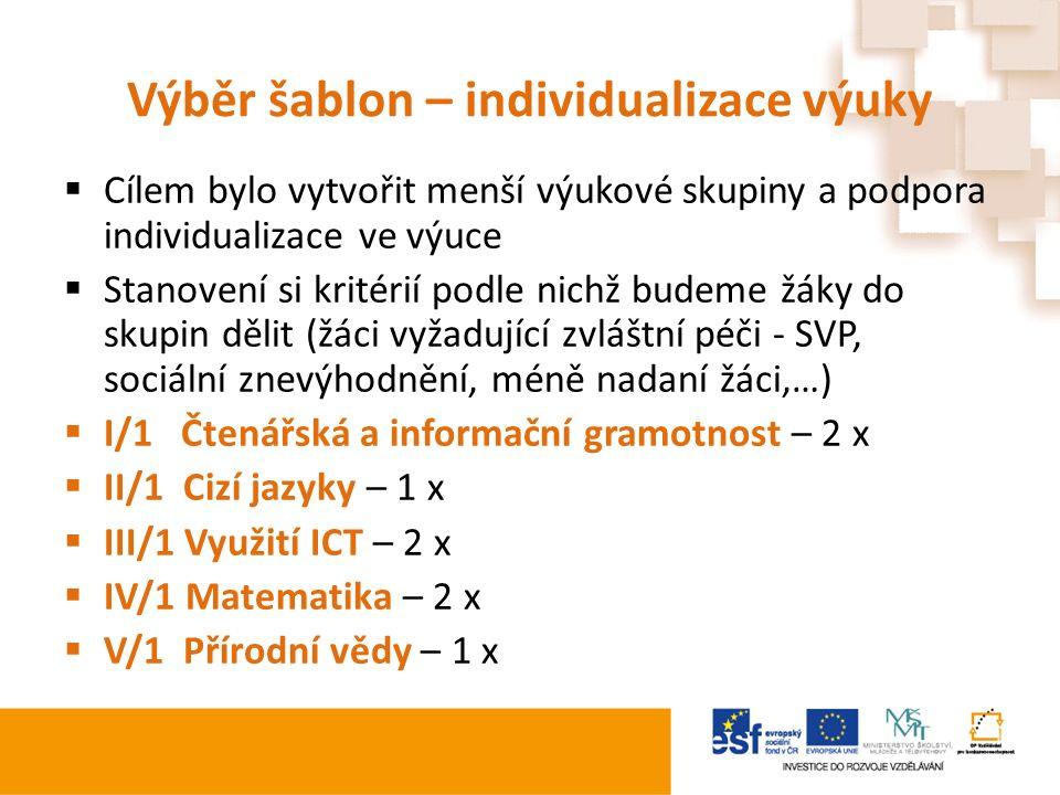 Výběr šablon – individualizace výuky  Cílem bylo vytvořit menší výukové skupiny a podpora individualizace ve výuce  Stanovení si kritérií podle nichž budeme žáky do skupin dělit (žáci vyžadující zvláštní péči - SVP, sociální znevýhodnění, méně nadaní žáci,…)  I/1 Čtenářská a informační gramotnost – 2 x  II/1 Cizí jazyky – 1 x  III/1 Využití ICT – 2 x  IV/1 Matematika – 2 x  V/1 Přírodní vědy – 1 x