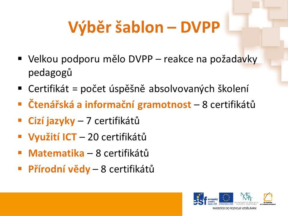 Výběr šablon – DVPP  Velkou podporu mělo DVPP – reakce na požadavky pedagogů  Certifikát = počet úspěšně absolvovaných školení  Čtenářská a informační gramotnost – 8 certifikátů  Cizí jazyky – 7 certifikátů  Využití ICT – 20 certifikátů  Matematika – 8 certifikátů  Přírodní vědy – 8 certifikátů