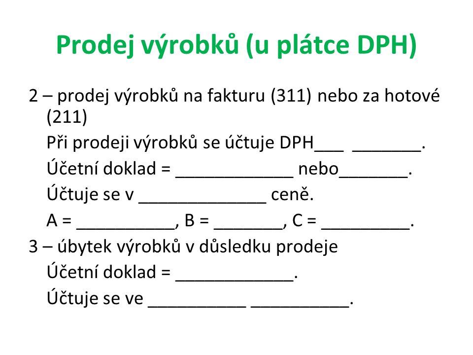 Prodej výrobků (u plátce DPH) 2 – prodej výrobků na fakturu (311) nebo za hotové (211) Při prodeji výrobků se účtuje DPH___ _______. Účetní doklad = _