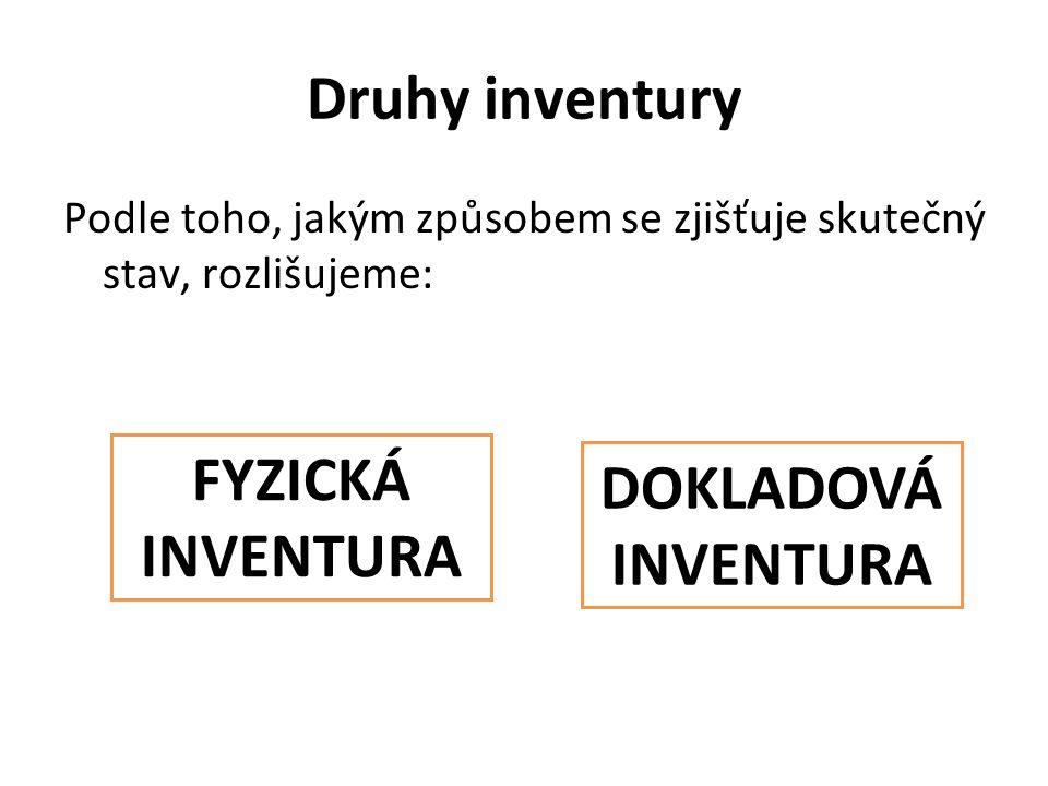 Druhy inventury Podle toho, jakým způsobem se zjišťuje skutečný stav, rozlišujeme: FYZICKÁ INVENTURA DOKLADOVÁ INVENTURA