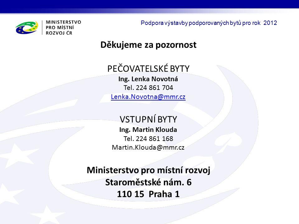 Děkujeme za pozornost PEČOVATELSKÉ BYTY Ing. Lenka Novotná Tel.