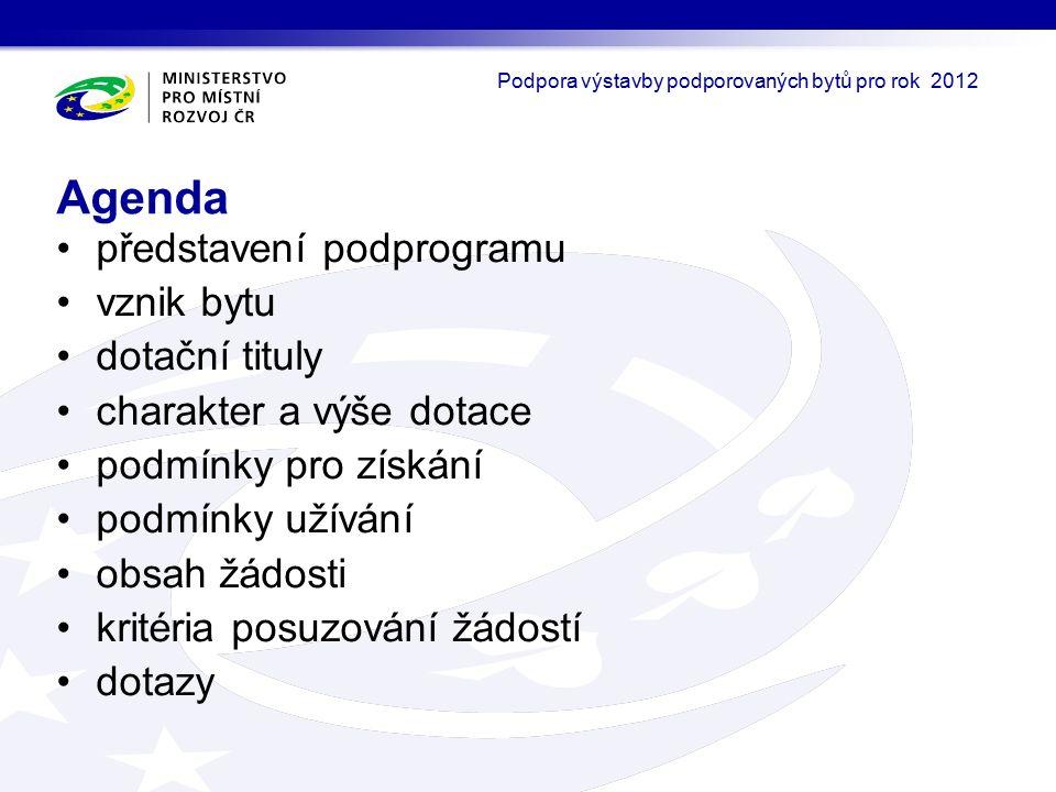 představení podprogramu vznik bytu dotační tituly charakter a výše dotace podmínky pro získání podmínky užívání obsah žádosti kritéria posuzování žádostí dotazy Agenda Podpora výstavby podporovaných bytů pro rok 2012