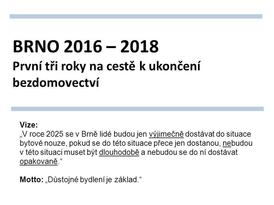 """BRNO 2016 – 2018 První tři roky na cestě k ukončení bezdomovectví Vize: """"V roce 2025 se v Brně lidé budou jen výjimečně dostávat do situace bytové nouze, pokud se do této situace přece jen dostanou, nebudou v této situaci muset být dlouhodobě a nebudou se do ní dostávat opakovaně. Motto: """"Důstojné bydlení je základ."""