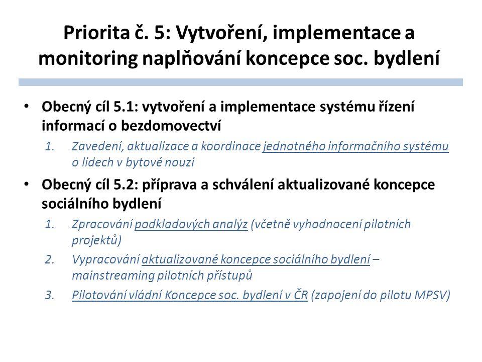 Priorita č. 5: Vytvoření, implementace a monitoring naplňování koncepce soc. bydlení Obecný cíl 5.1: vytvoření a implementace systému řízení informací