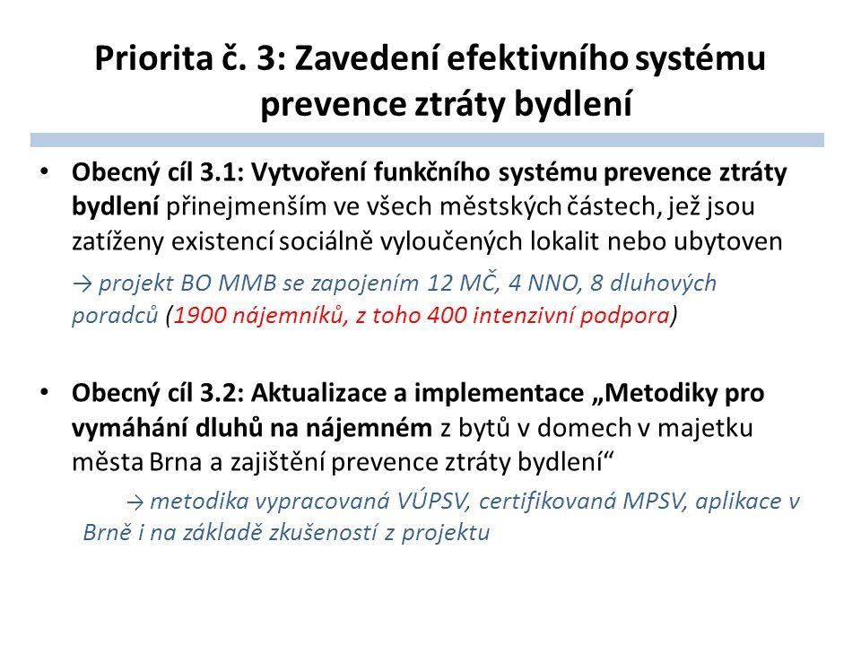 Priorita č. 3: Zavedení efektivního systému prevence ztráty bydlení Obecný cíl 3.1: Vytvoření funkčního systému prevence ztráty bydlení přinejmenším v
