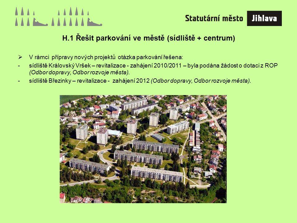 H.1 Řešit parkování ve městě (sídliště + centrum)  V rámci přípravy nových projektů otázka parkování řešena: -sídliště Královský Vršek – revitalizace - zahájení 2010/2011 – byla podána žádost o dotaci z ROP (Odbor dopravy, Odbor rozvoje města).