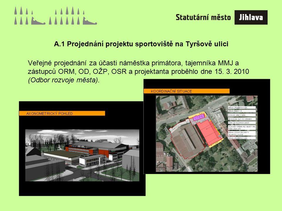 A.1 Projednání projektu sportoviště na Tyršově ulici Veřejné projednání za účasti náměstka primátora, tajemníka MMJ a zástupců ORM, OD, OŽP, OSR a projektanta proběhlo dne 15.