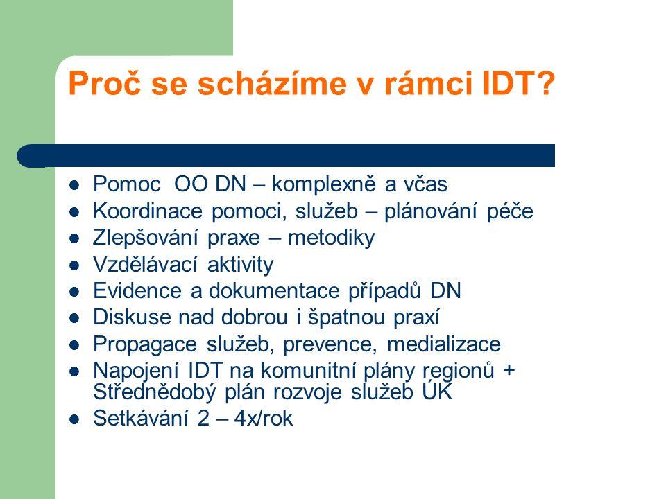 Proč se scházíme v rámci IDT? Pomoc OO DN – komplexně a včas Koordinace pomoci, služeb – plánování péče Zlepšování praxe – metodiky Vzdělávací aktivit